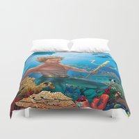 aquaman Duvet Covers featuring Aquaman Black Lagoon (Sun Kissed Water Version) by Brian Hollins art