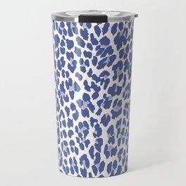 Blue Leopard Print Travel Mug