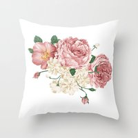 wwe Throw Pillows featuring Watercolor rose by eARTh
