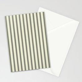 Mattress Ticking Wide Striped Pattern in Dark Black and Beige Stationery Cards