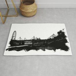 Thames skyline in black and white, London, UK Rug