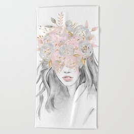 She Wore Flowers in Her Hair Rose Gold by Nature Magick Beach Towel