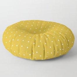 Minimalist Polka Dot Pattern (white/mustard yellow) Floor Pillow