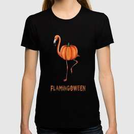 Flamingo funny halloween flamingoween pumkin casual t-shirt T-shirt
