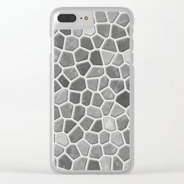 Faux Mosaic in light grays Clear iPhone Case