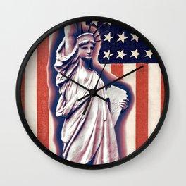 Patriotic Lady Liberty Digital Artwork Wall Clock