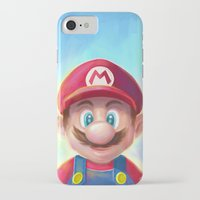 mario kart iPhone & iPod Cases featuring Mario Portrait by Laurence Andrew Page Illustrator
