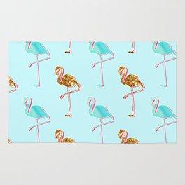 Golden Blue Flamingo Pattern Rug