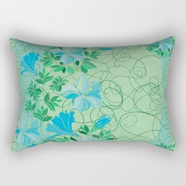 Frame from abstract blue flowers with background Rectangular Pillow