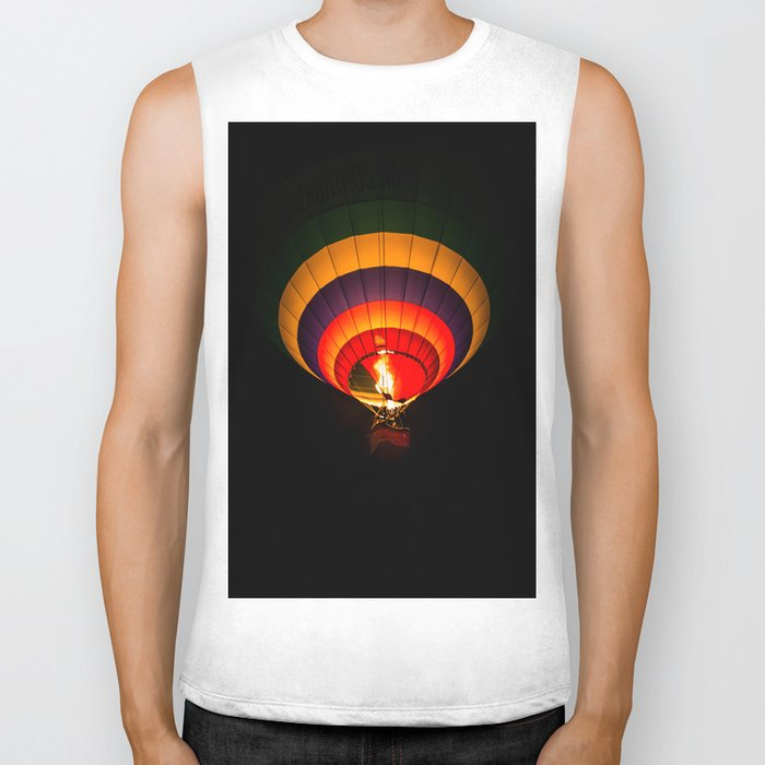 Night hot air balloon adventure Biker Tank