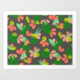 Henri's Garden in gray // tropical flora pattern Art Print