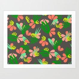 Henri's Garden in gray // tropical flora pattern Art Print