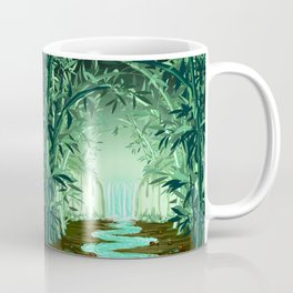 Fluorescent Waterfall on Surreal Bamboo Forest Coffee Mug