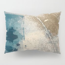 Embrace: a minimal, abstract mixed-media piece in blues and gold with a hint of pink Pillow Sham