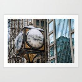 Snowy Clock Art Print