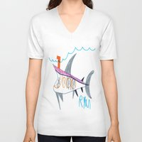 submarine V-neck T-shirts featuring Shark Submarine by Ryan van Gogh