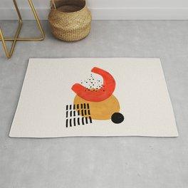 Boomerang Yellow & Orange Mid Century Modern Colorful Minimalist Shapes Patterns by Ejaaz Haniff Rug
