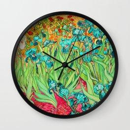 Vincent Van Gogh Irises at St. Remi Wall Clock