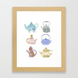 Waterclor Teapot Collection Framed Art Print