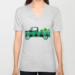 St. Patricks Day Pickup Retro With Shamrocks Classic Car Trucker Gifts For Truck Drivers Unisex V-Neck