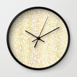 Luxe Gold Woven Burlap Texture Hand Drawn Vector Pattern Background Wall Clock