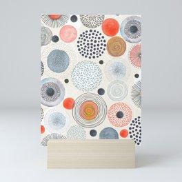 Mid Century Modern Colorful Circle Patterns Illustration Seamless Pattern Mini Art Print