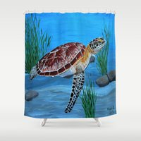 sea turtle Shower Curtains featuring Sea turtle  by maggs326