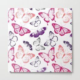 Colorful Nature Lover's Environmental Beautiful Butterflies Pattern Metal Print