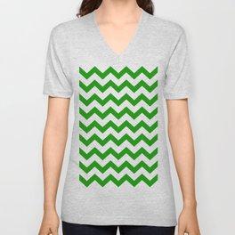 Chevron Texture (Green & White) Unisex V-Neck