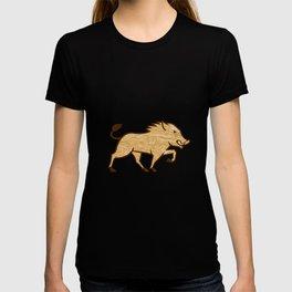 Wood Boar Marching Side Retro T-shirt