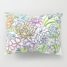 arrangement of flowers in pastel shades on a white background . illustration Pillow Sham