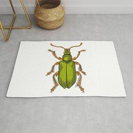 Shiny green beetle Rug