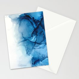 Blue Tides - Alcohol Ink Painting Stationery Cards