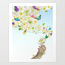 Plumeria Butterflies Art Print