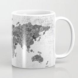 Mandalas on Rustic White Concrete World Map Art Coffee Mug