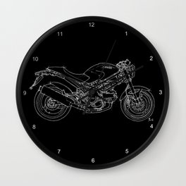 Black Ducati Monster White ink Wall Clock