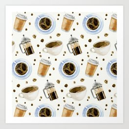 Coffee watercolor pattern with grains coffee Art Print