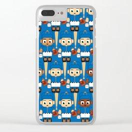 Baseball Blue and Orange - Super cute sports stars Clear iPhone Case