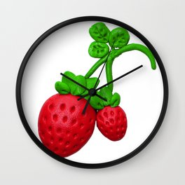 Sweet red strawberry with plasticine Wall Clock