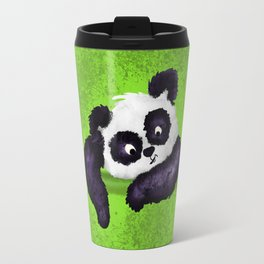 Cute Painted Panda Bear on green Travel Mug