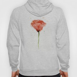 Poppy Watercolor Abstract Red Flower Hoody
