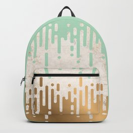 Marble and Geometric Diamond Drips, in Gold and Mint Backpack