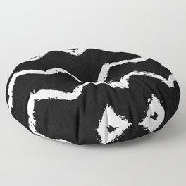 Chevron Stripes White on Black Floor Pillow