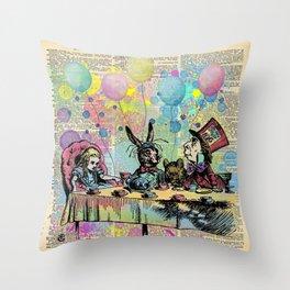 Tea Party Celebration - Alice In Wonderland Throw Pillow