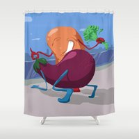 erotic Shower Curtains featuring Erotic Eggplant by Rui Rodrigues