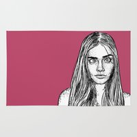 cara Area & Throw Rugs featuring Cara Delevingne by Sharin Yofitasari
