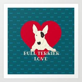 Bull Terrier Love Art Print