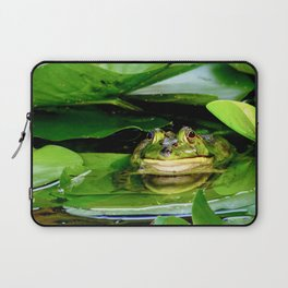 Bullfrog Hiding Out in the Lily Pads Laptop Sleeve