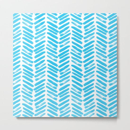 Simple Aqua and white handrawn chevron - horizontal - for your summer on #Society6 Metal Print