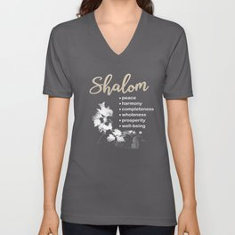 Christian T Shirt with Hebrew Word 'Shalom' and its Meanings Unisex V-Neck